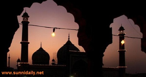 An illuminated Jama Masjid mosque in the